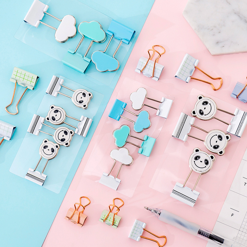 1set Mini Metal Binder Clips Cartoon Office File Clip Cute Cartoon Paper Clip Notes Letter Learning Supplies School Office
