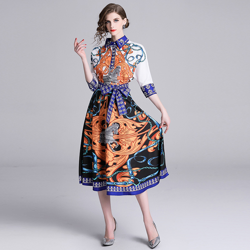 2019 Spring New Style Europe And America WOMEN'S Lapel Shirt + Medium-length Skirt Printed Set