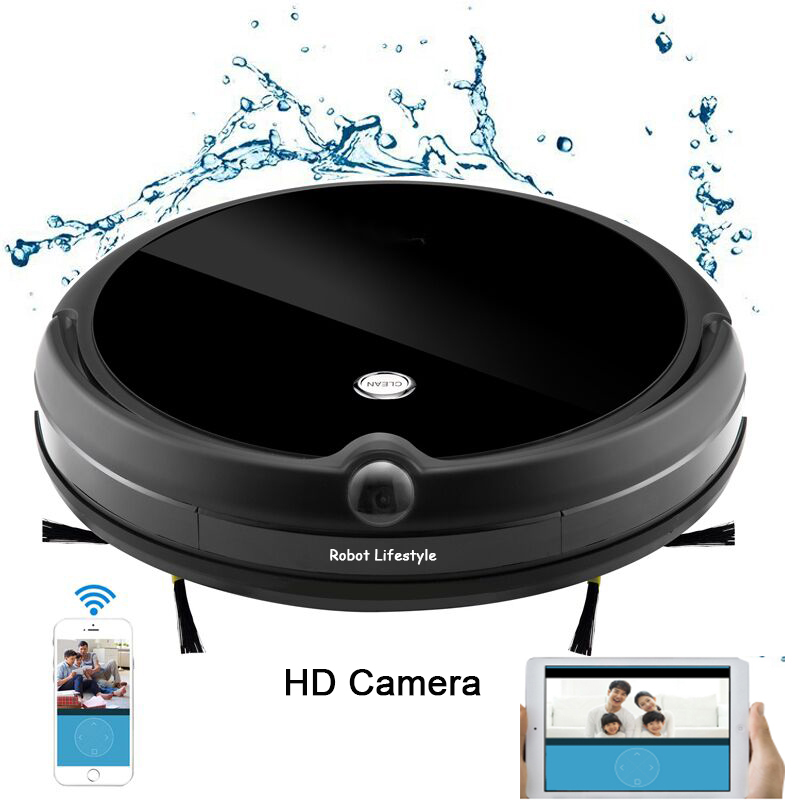Camera Video Monitor Robot Vacuum Cleaner Wet and Dry Cleaning With Map Navigation, WiFi App Control,Smart Memory,Water Tank image