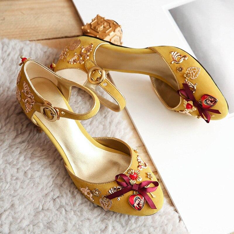 Fantaisie boucle Style bleu clair daim étrange talon chaussures élégant métal Angle fleurs cristal décoré pompes nouveauté - 6