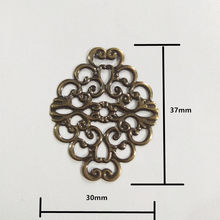 Bronze Hollow Flower Wraps Connectors Cabochon Cameos DIY Jewelry Findings Fit Cabochon Base Settings,37x30mm,1PC(China)