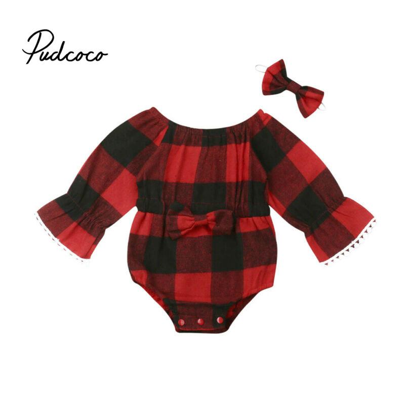 Pudcoco Red Plaid Newborn Infant Baby Girls Bow-knot Long Sleeve With Tassel Bodysuit Jumpsuit Outfits Set Clothes Size 0-24M