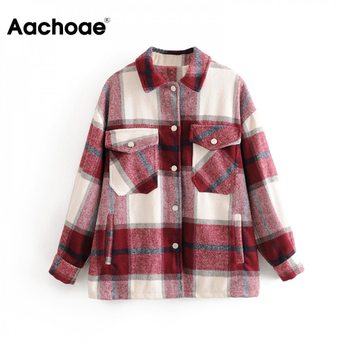 Aachoae Plaid Women Fashion Jacket Spring Turn Down Collar Casual Coat Outwear Female Batwing Long Sleeve Lady Tops Ropa Mujer - discount item  38% OFF Coats & Jackets