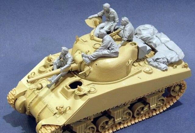 Unassambled 1/35 anicentクルーは4男と収納 (なしタンク) 樹脂フィギュアミニチュアモデルキット未塗装