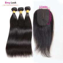 100%Human-Hair 3-Bundles-Machine Straight with Invisible Swiss Lace Closure Envy-Look