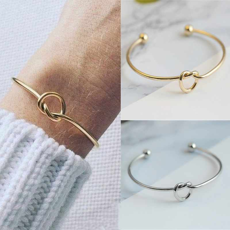 L231 Fashion Knot Cuff Bracelets & Bangles Women Jewelry Pulseira Simple Glossy Open Bangles Pulseras LOVE Valentine's Day Gift