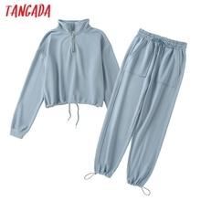 Tangada 2020 Women's sets cotton suit oversized 2 pieces set turtleneck zipper Terry crop hoodies sweatshirt pants suits 5W3