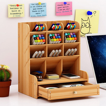 Office Desk Organizer Desktop Pen Pencil Holder Container Storage Box Portable with Drawer JLRJ88