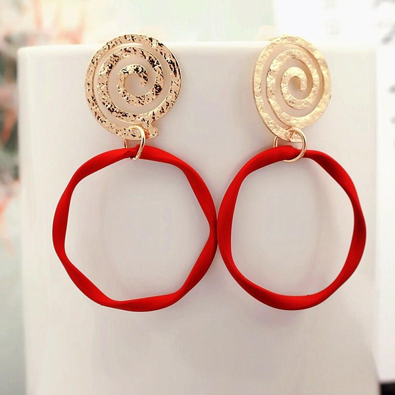 Модные круглые большие красные геометрические Спиральные серьги-подвески неправильной формы для женщин индивидуальные корейские ювелирн...