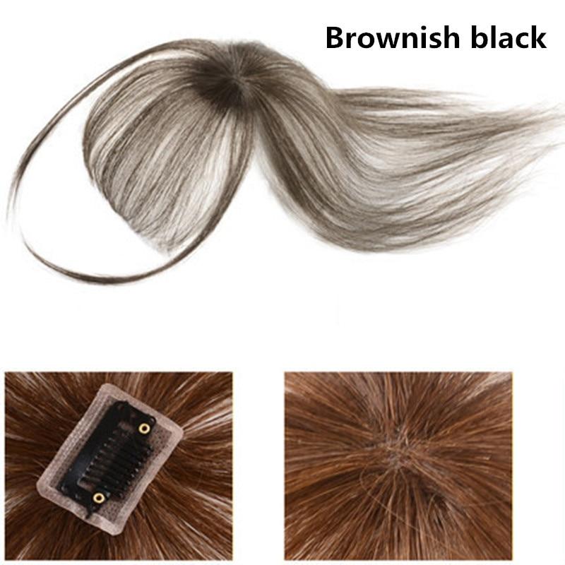 Brazilian Huamn Hair Bangs Black Brown 4 Colors Straight Neat Bangs Clip In Human Hair Extensions Remy Hair Topper Bangs Clips