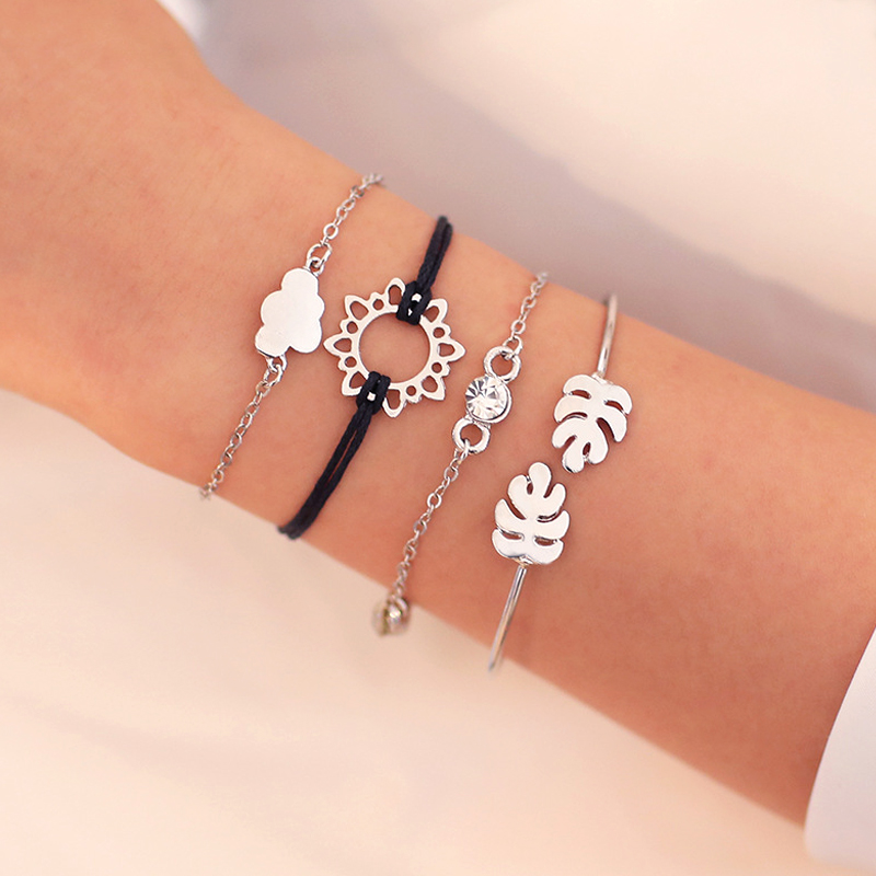 4PCS Sets Hot Fashion Jewelry New Fashion Suit Bracelets Women's Combination Bracelet Jewelry Hand chain Hand Accessories