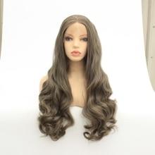 MRWIG средней части синтетический передний парик без клея 1b #2 # длинный волнистый термостойкий парик для женщин