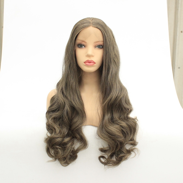 MRWIG middle part synthetic front lace wig glueless 1b#2#long body wavy heat resistant fiber for lady woman