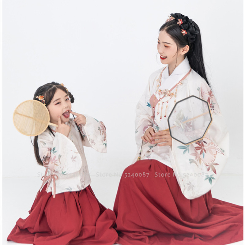 Mother Daughter Chinese Traditional Hanfu Party Dress Women Girl Fairy Princess Performance Costume Bag Kid Embroidery Tang Suit