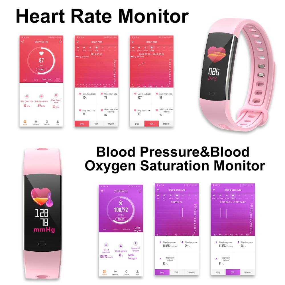 BingoFit Color Smart Bracelet Waterproof Heart Rate Monitor Health Fitness Tracker Bluetooth Smart Watch for Sport PK MI Band4 in Smart Wristbands from Consumer Electronics