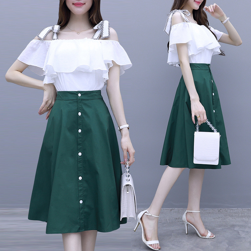 Set 2019 Summer New Style Flounced Punching Bag Tops + Mid-length Skirt Two-Piece Set