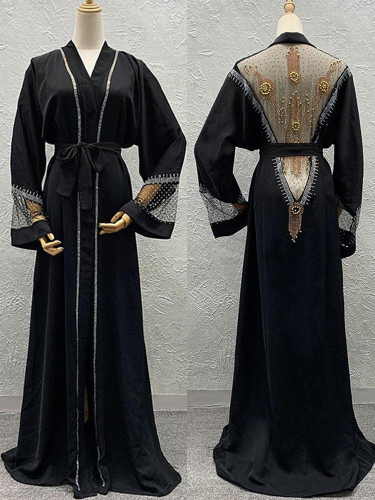 Cardigan Dress Hijab-Set Kaftan Abayas Beading Dubai Turkish Muslim Lace Woman New Boubou
