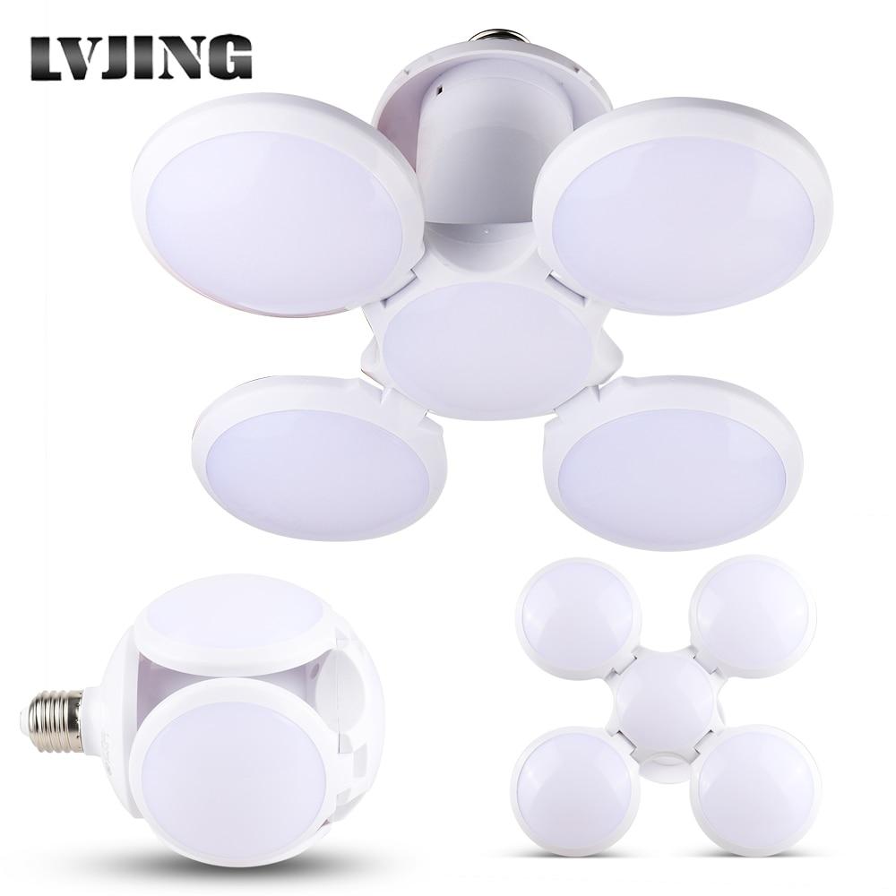 LED Garage Lights Deformable 40W LED Basement Lights E27 LED Light Bulb Ceiling Lighting Daylight Lamps With 4 Adjustable Panels