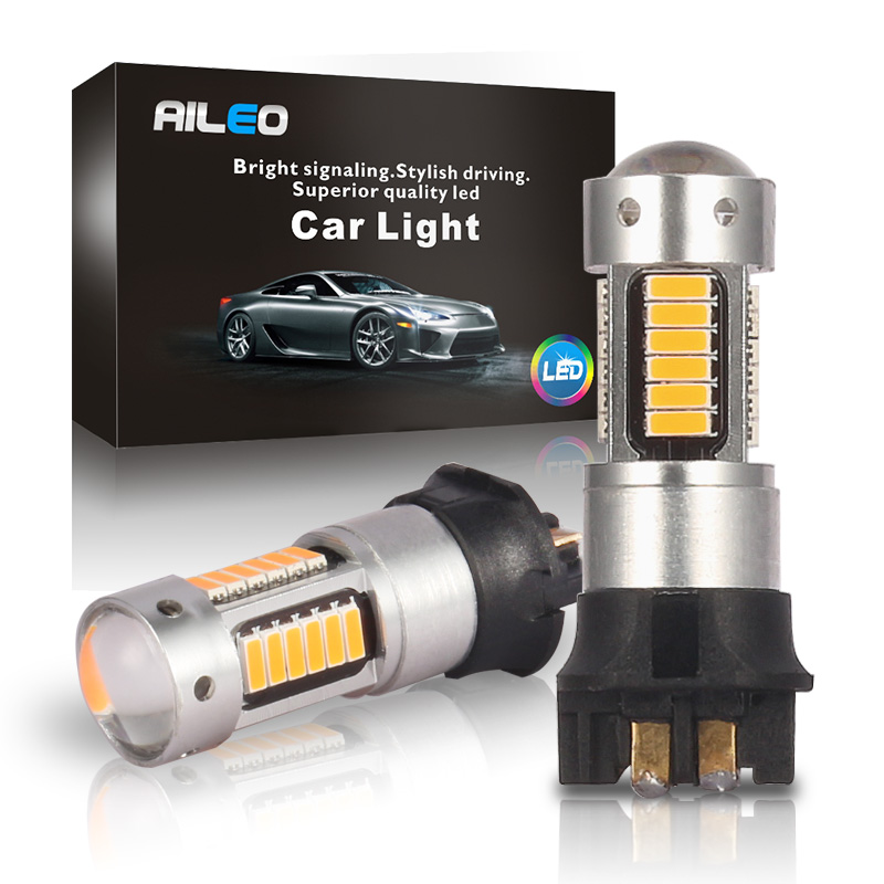 AILEO 2x No OBC Error Canbus White LED PW24W <font><b>PWY24W</b></font> Bulbs For Audi BMW VW Turn Signal DRL Light 6000k 3000k yellow 12V 600LM image