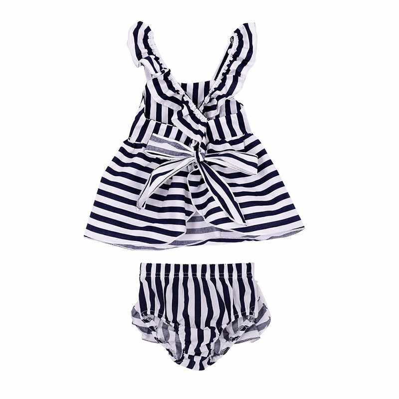 2018 nowa dziewczyna sukienka w paski moda wakacje na plaży krzyż krótki spódnica dziewczyna rozrywka czysty ubrania bawełniane dzieci w wieku 0-2 lat