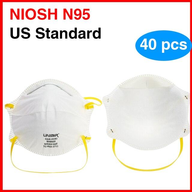 20PCS NIOSH N95 Masks US Standard  Anti-fog Haze Dust-proof Face Masks  N95 for Exhaust Gas Allergies Pollen PM2.5 1