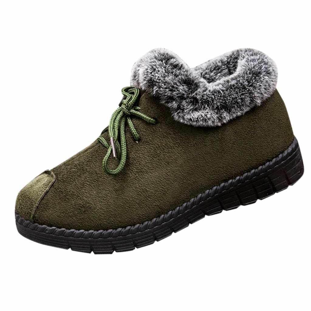 Stivali Della Caviglia delle donne Scarpe di Cotone Più di Velluto di Spessore Più Caldo Da Trekking Stivali Da Neve casual Superficiale di Colore Solido Scarpe Da Lavoro scarpe