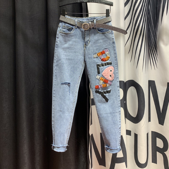 Slim-Fit Fashion Ripped Harem Pants Women's 2020 Spring New Korean Version Patch Beads Cropped Jeans Denim Jean Femme