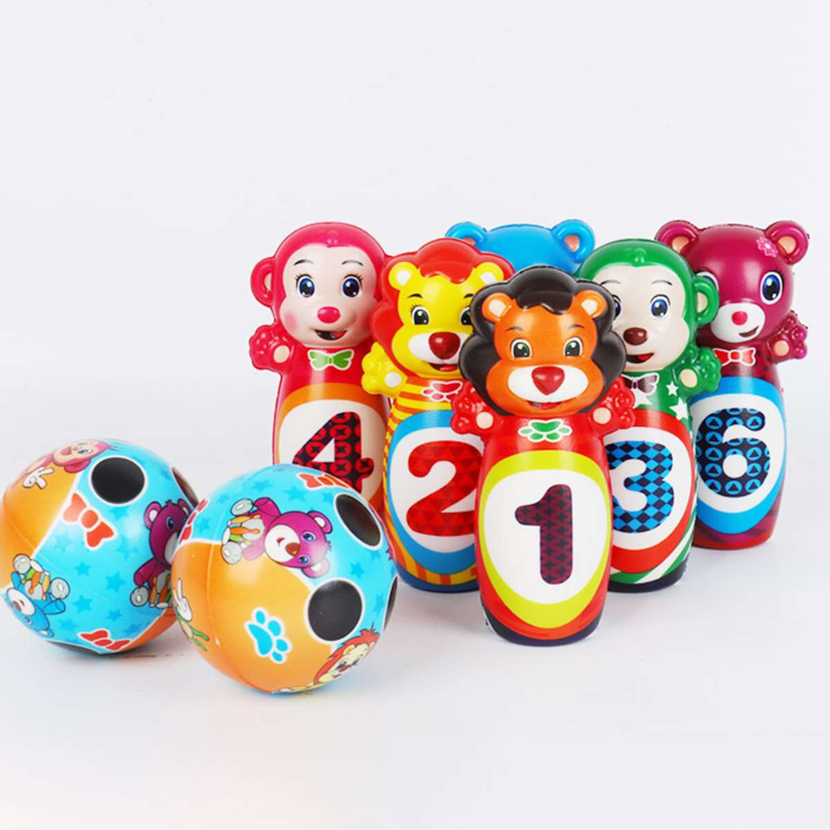 8/12PCS Cute Bowling PU Soft Indoor Sport Play Games Safe Foam Kids Bowling Set Children Indoor Sport Family Funny Game Toy Gift