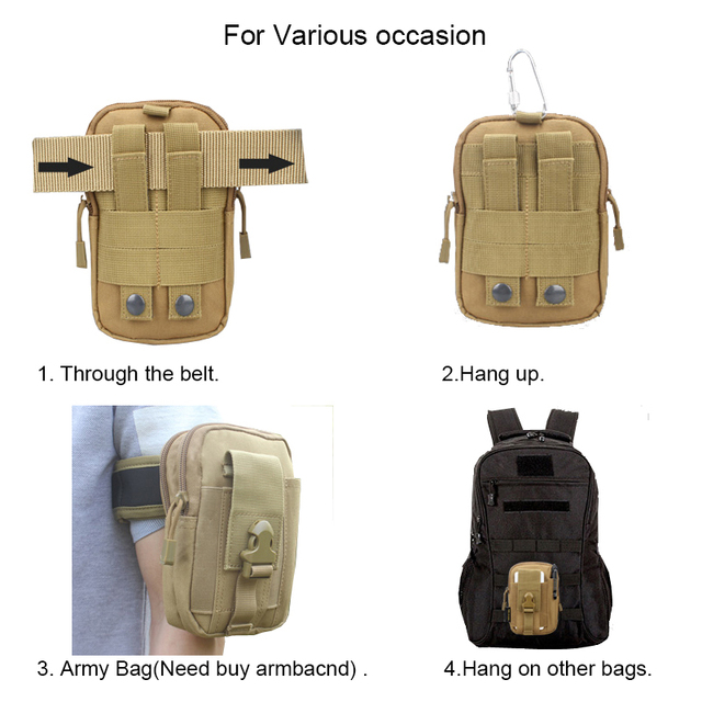 IKSNAIL Tactical Pouch Molle Hunting Bags Belt Waist Bag Military Tactical Pack Outdoor Pouches Case Pocket