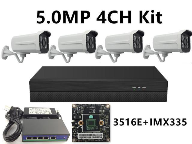 4CH IP Surveillance Kit 5.0MP 4.0MP 3.0MP 2.0MP IP Metal Bullet Camera IRC IP66 Waterdichte 48V Poe NVR CMS XMEYE P2P