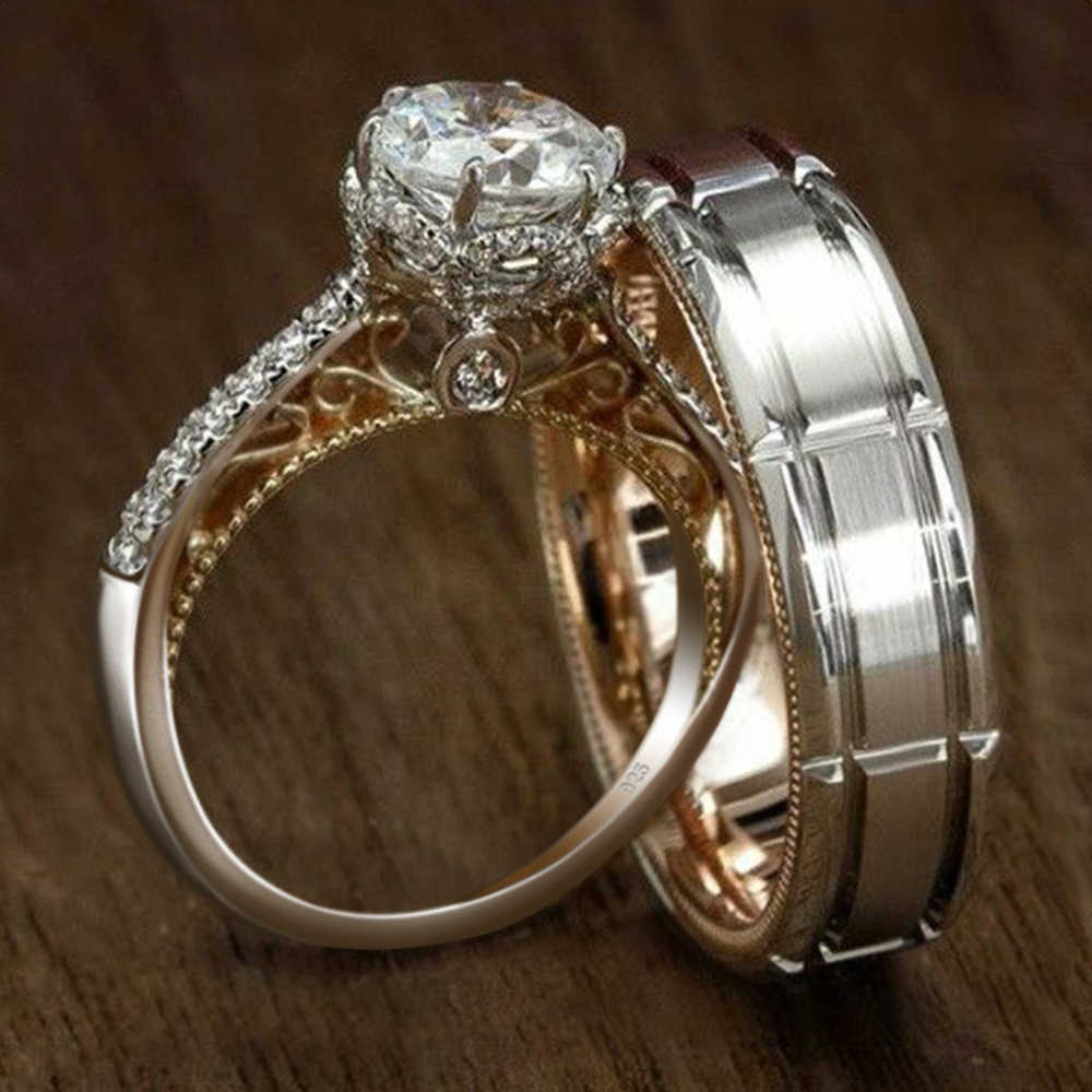 Wanita Pria Cincin Pertunangan Set Dipasangkan Aliansi Cubic Zirconia Micro Paved Perhiasan Pernikahan Pria Wanita Band Cinta Hati DBR003