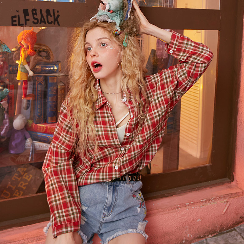 ELFSACK Multicolor Plaid Single Breasted Casual Preppy Blouse Shirt Women 2020 Spring New Long Sleeve Korean Female Daily Tops