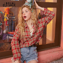 ELFSACK Multicolor Plaid Single Breasted Casual Preppy Blouse Shirt