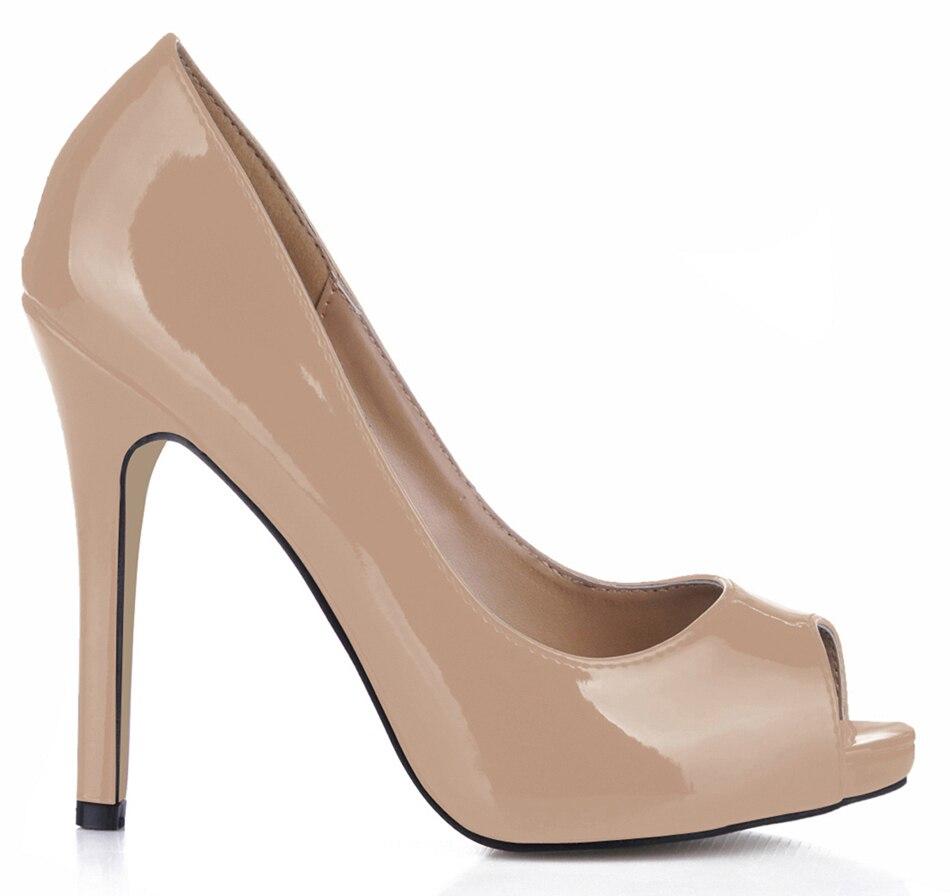 Spring Autumn New 11cm High Heel Pumps Patent Fashion Women Stiletto Thin Heel Peep Toe Sexy Party Dress Lady Shoes 1-12