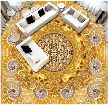Custom photo 3d pvc flooring self adhesive vinyl wallpaper Golden luxury european pattern decor living room for wallpaper 3 d