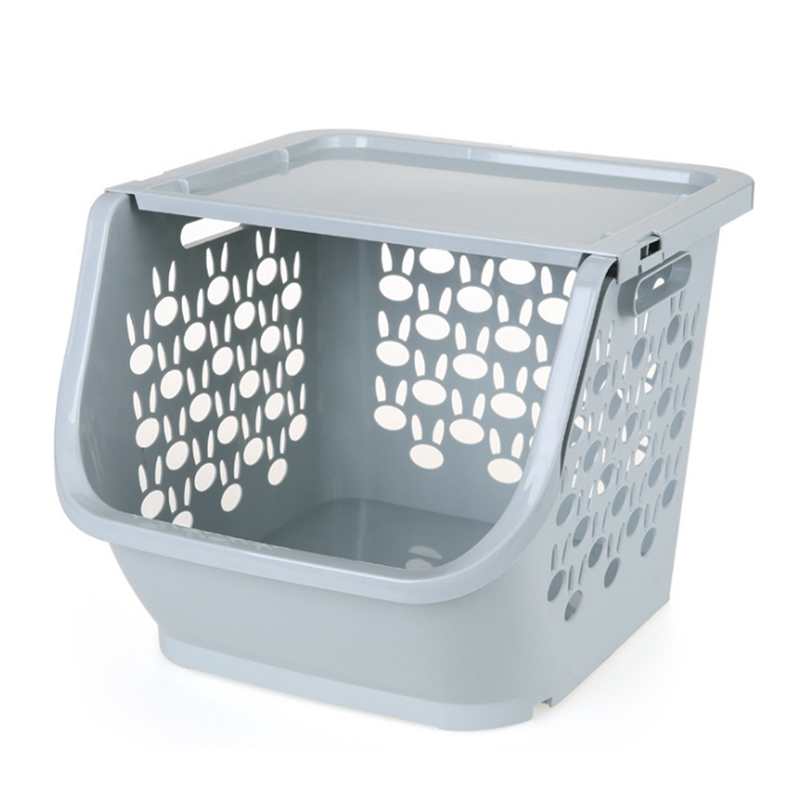 Kitchen Storage Basket Plastic Multi-Functional Hollow Vegetables Fruit Racks With Cover Storage Basket For Organizers