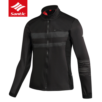 Santic 2018 Men Bicycle Cycling Thermal Jackets Autumn Winter Keep Warm MTB Road Bike Jacket Outdoor Sport Windproof Coat Black