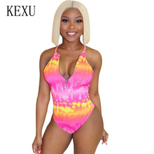 купить KEXU New Fashion Tie-dyed Zipper Swimsuits Women Sexy High Cut Sleeveless Hollow Out Halter Swimwear Mujer Summer Bodysuits онлайн