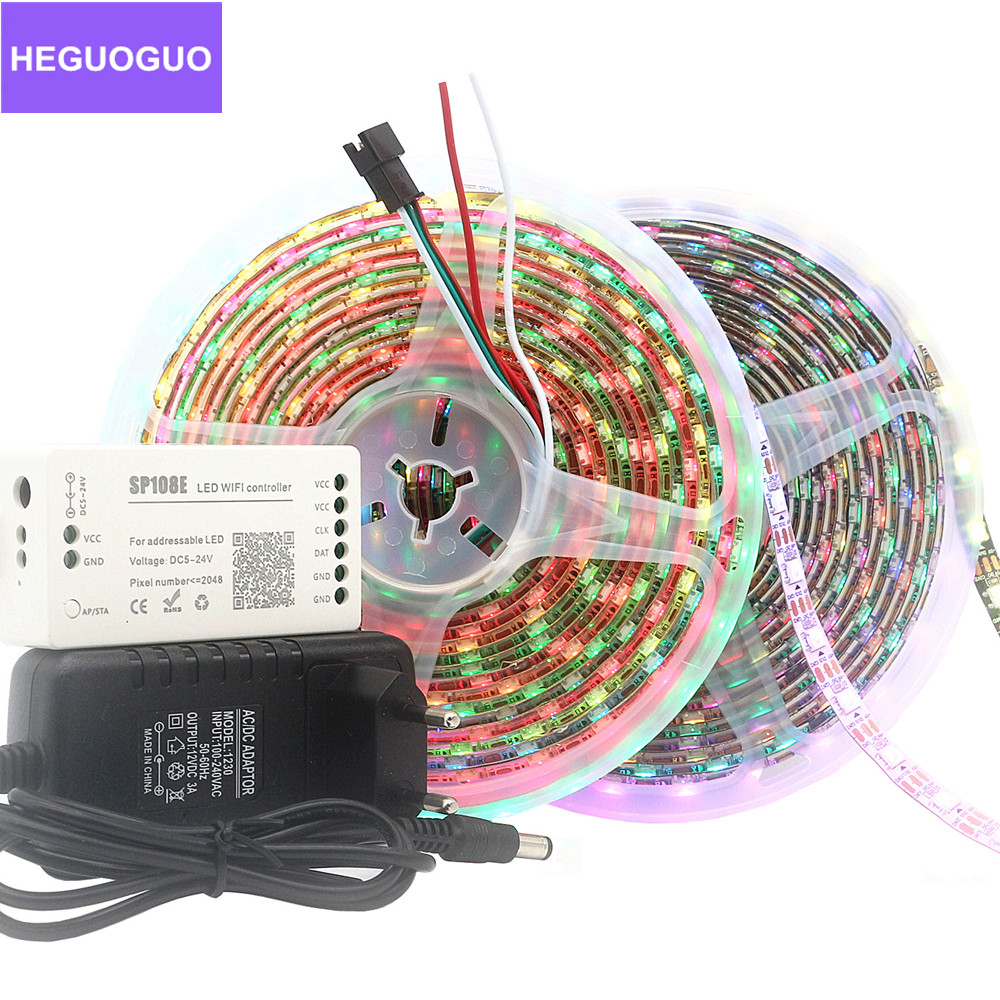DC <font><b>5V</b></font> WS2812B <font><b>WS2812</b></font> Led Pixel Strip Individually Addressable Smart Led Tape Light+Music Bluetooth WiFi Controller Power Kit 5m image