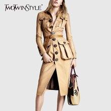 TWOTWINSTYLE Женская ветровка из искусственной кожи, воротник с лацканами, длинный рукав, высокая талия, Тренч для женщин,, осенняя мода, новинка
