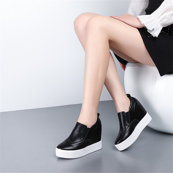 Sarairis Brand New Leisure Inner Heels Genuine Leather women's Shoes Slip On Brogue Loafers Casual Skin Pumps Woman