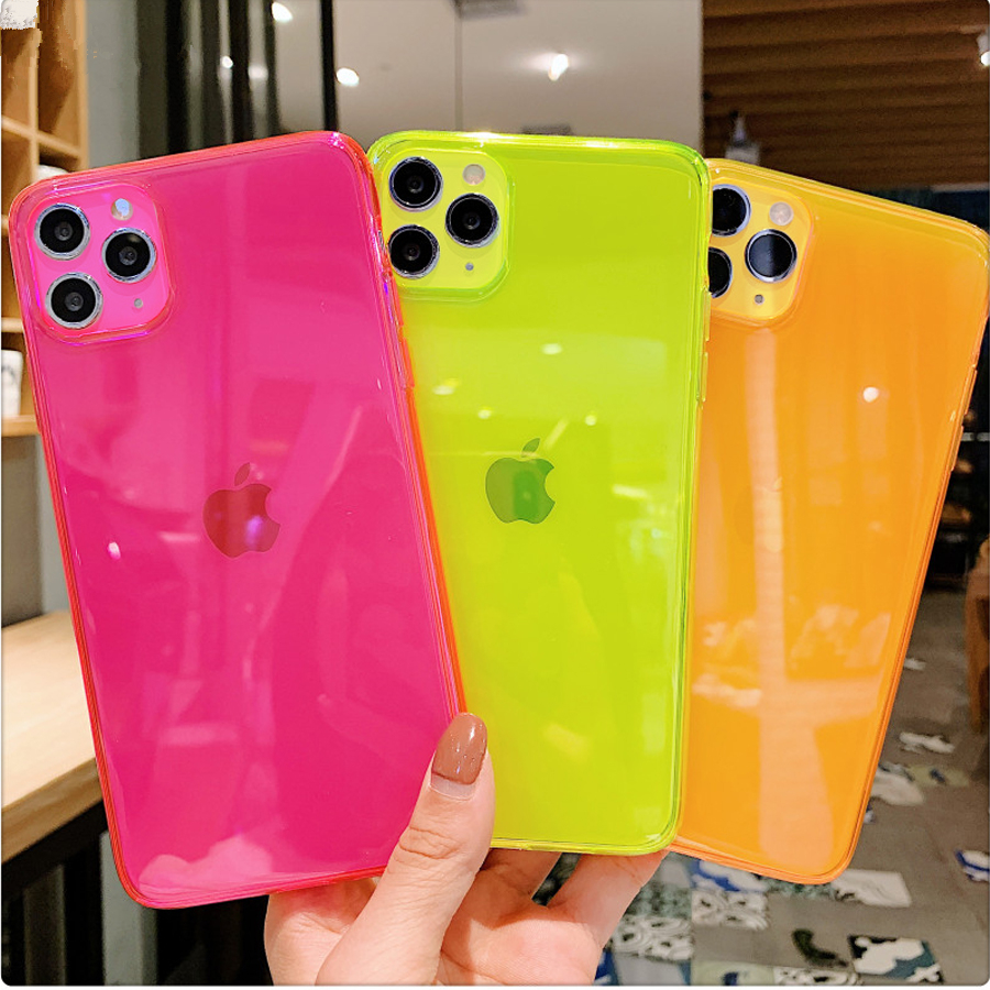 Neon Fluorescent Color Phone Cases For iphone 12 11 Pro Max 12 Mini X XR XS Max 6 6S 7 8 Plus SE 2020 Fully protected soft cover