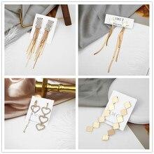 2019 New Long Tassel Earrings For Women Luxury Zircon Cute Korean Earrings Jewelry Winter Accessories Wholesale new korean hoops hoop earrings metal hollow pearl zircon cute classic flowers women s earrings for jewelry accessories