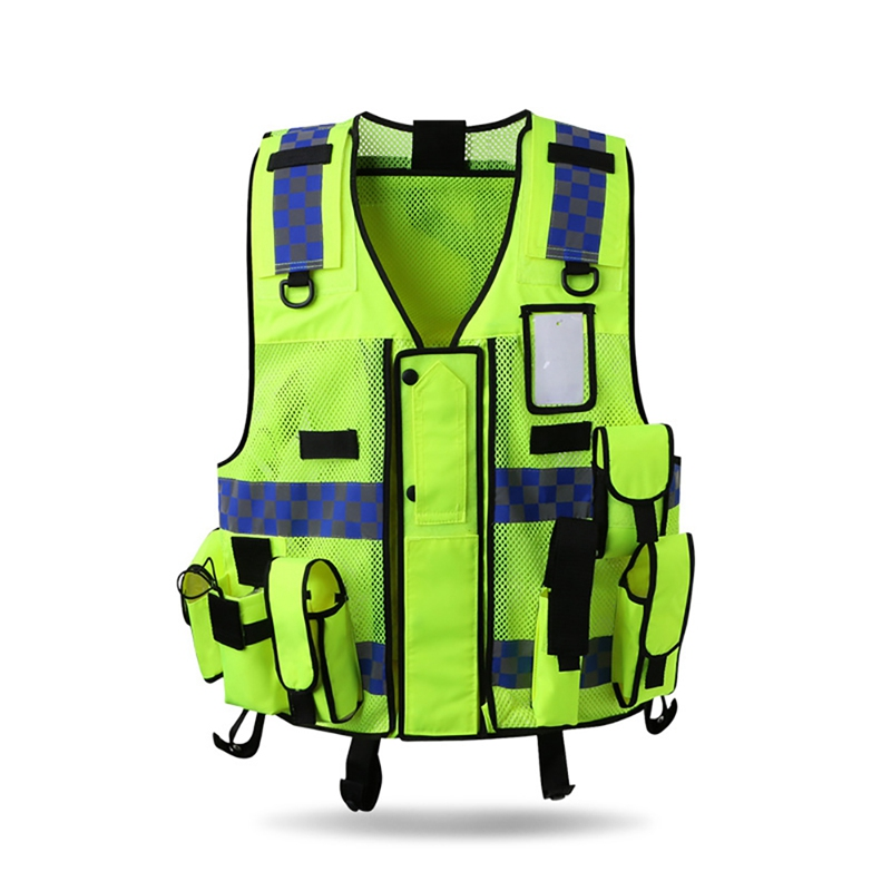 >Reflective Vest Outdoor Protector <font><b>Tank</b></font> <font><b>Top</b></font> <font><b>High</b></font> Visibility Multi Pocket Breathable Safety Gear Construction Traffic Sportswear