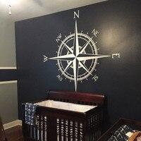 Pegatina de pared de brújula del capitán, calcomanía para techo de vinilo, medallón, arte del mapa del mundo, mural, decoración del hogar, calcomanía de pared náutica, HJ685