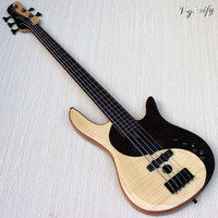 5 string fretless with fret line electric bass guitar flame maple mix with rosewood solid mahogany wood active bass guitar