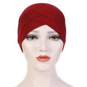 Image 4 - נשים מוסלמי חיג אב צעיף הפנימי חיג אב Caps גבירותיי האסלאמי צלב סרט טורבן כיסוי ראש גומייה לשיער נשים המוסלמי חיג אב