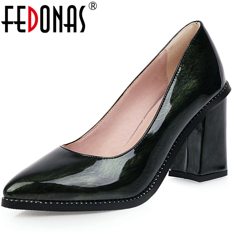 FEDONAS New 2020 Women Super High Heeled Pumps Shllow Patent Leather Prom Party Basic Shoes Spring Summer Brand Shoes Woman