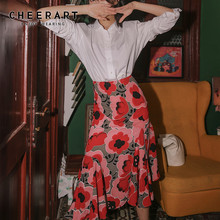 CHEERART Fall 2020 Women Red Floral Skirt High Waist A Line Ladies Ruched Slit