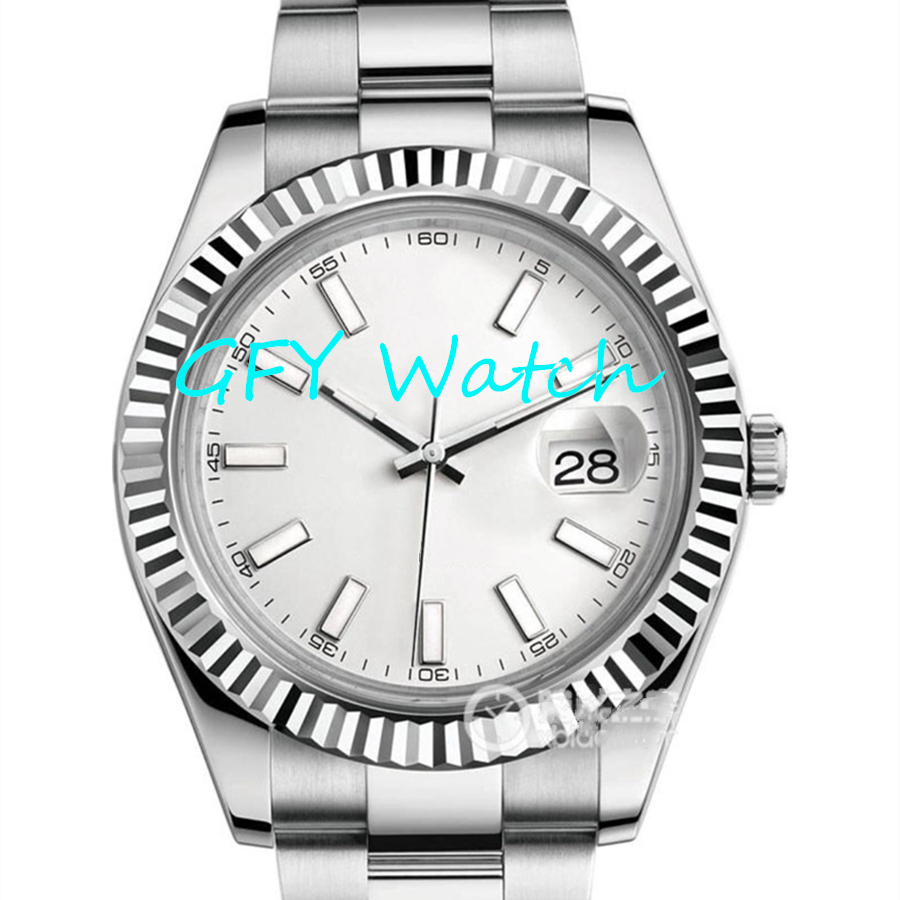 Men's Automatic Mechanical Watch 116334 SS 1: 1 White Dial, Stainless Steel Strap A2813 Movement Business Watch MIYOTA